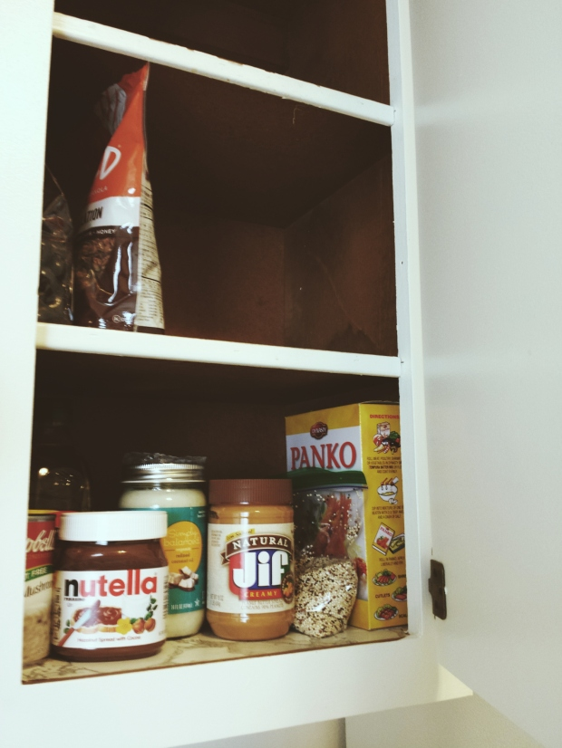 The beginnings of my pantry on move-in day