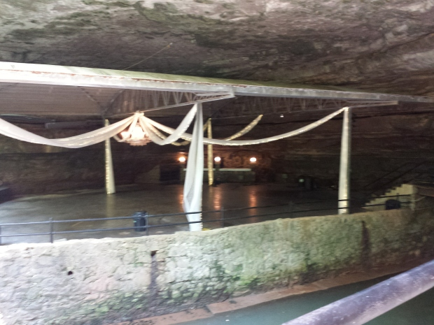 The reconstructed dance floor of the old night club at Lost River Cave. They have weddings there now.