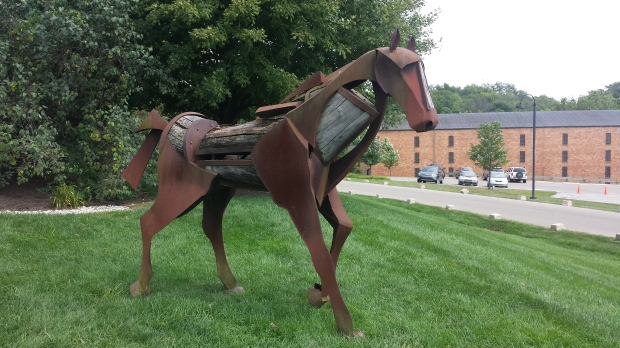 "A quick snap I took of the horse statue out front at Woodford Reserve to send my college roommate, who said ""I love the contrast in materials!"" the wood components are from used barrels"